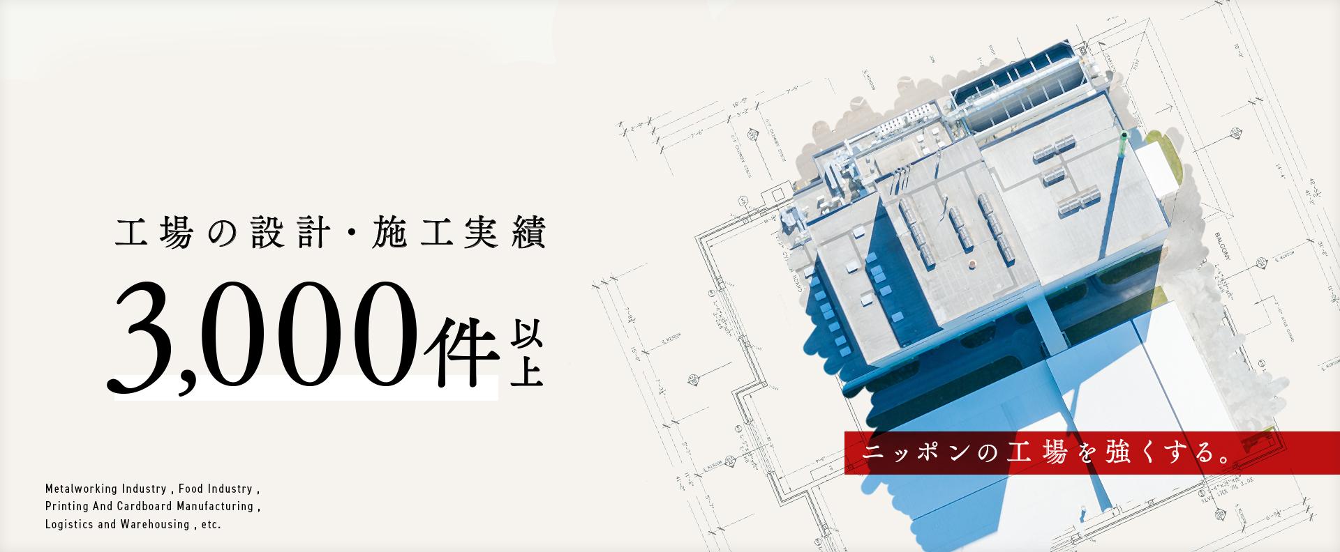 工場の設計・施工実績 3,000件以上